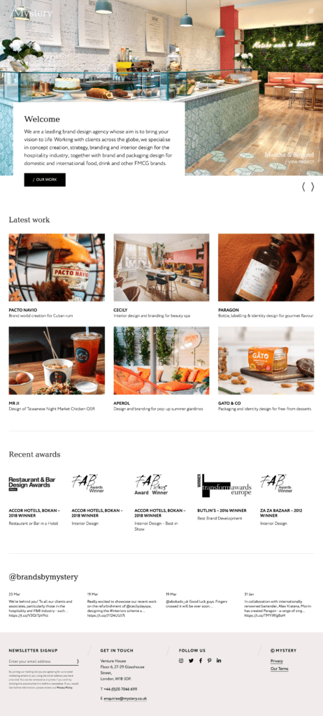 Homepage Page for Mystery Brand Design Agency Website