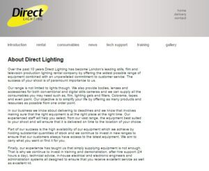 Direct Lighting Website Design - 2003